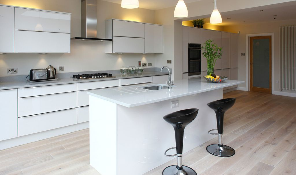 Contemporary Kitchen with Pendant light, Alpha bombo style adjustable faux leather bar stool, Kitchen island, Breakfast bar