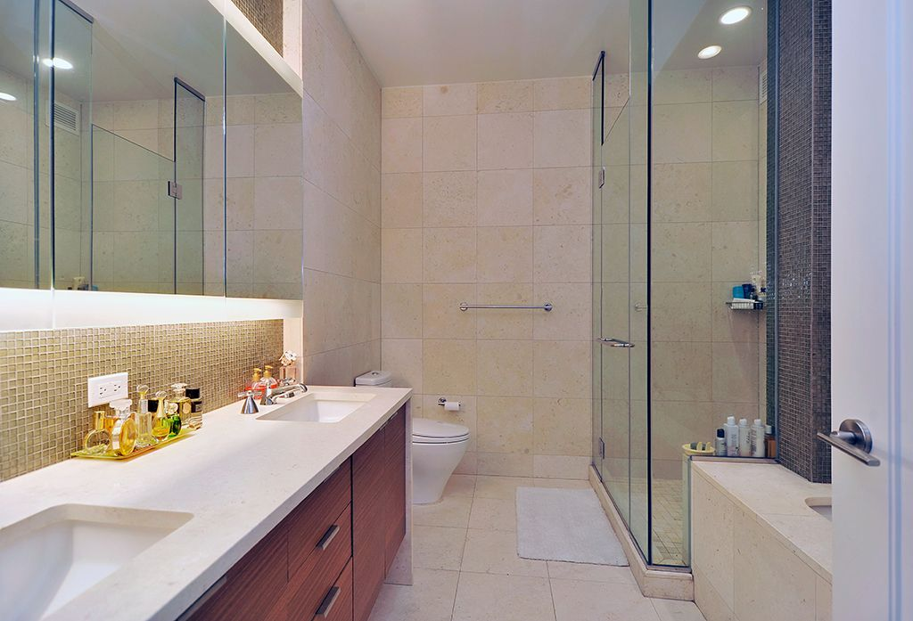 Contemporary Master Bathroom with stone tile floors, Large Ceramic Tile, Bathtub, Shower, Undermount sink, Wall Tiles, Flush