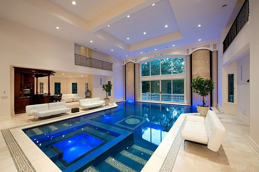 Contemporary Swimming Pool with Indoor pool, Trey ceiling, Pool with hot tub, exterior tile floors