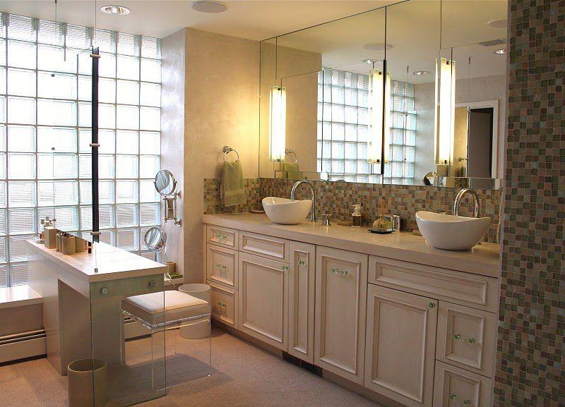 Modern Master Bathroom with wall-mounted above mirror bathroom light, Flat panel cabinets, Vessel sink, Flush, Ceramic Tile