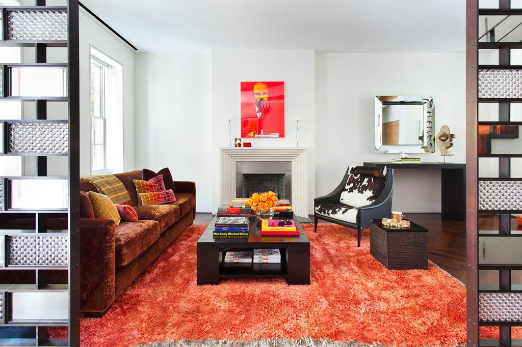 Contemporary Living Room with Built-in bookshelf, double-hung window, Fireplace, Standard height, herringbone tile floors