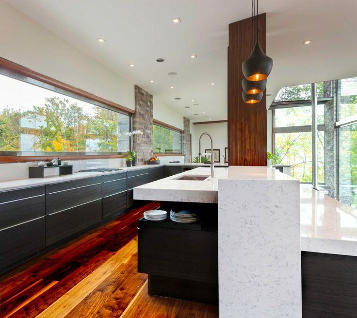 Modern Kitchen with Tom Dixon Beat Fat Black Pendant Light, European Cabinets, Flush, Complex marble counters, Paint 1