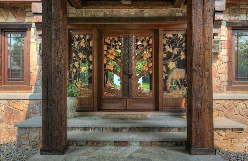 Rustic front door with pathway glass panel door zillow for Rustic exterior doors