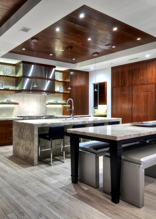 Contemporary Kitchen with Wood tray ceiling, Custom mahogany cabinet, Built In Panel Ready Refrigerator, Kitchen island