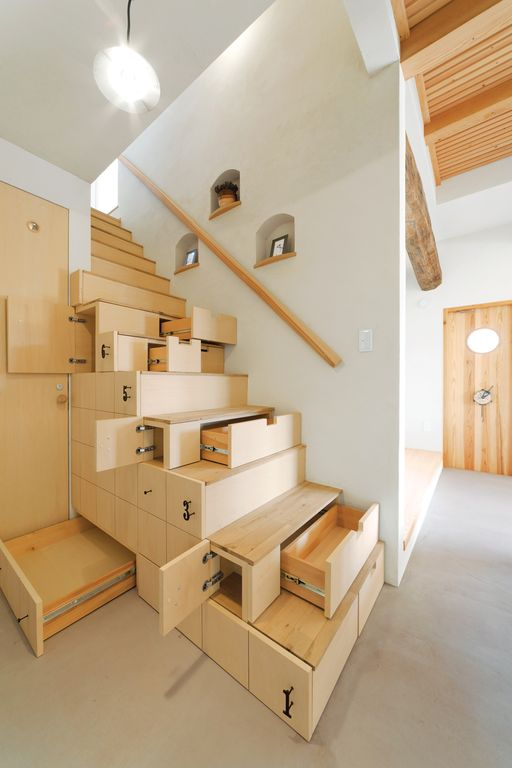 Contemporary Staircase with Stair storage solutions, Maximizing storage, Concrete floors, High ceiling, Exposed beam