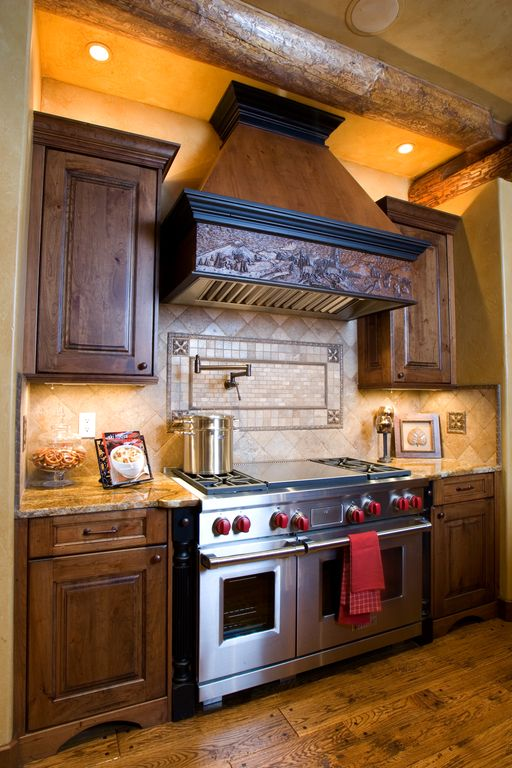 """Rustic Kitchen with Granite countertop, double oven range, 2"""" x 4"""" travertine mosaic tile, Complex granite counters, Paint 1"""