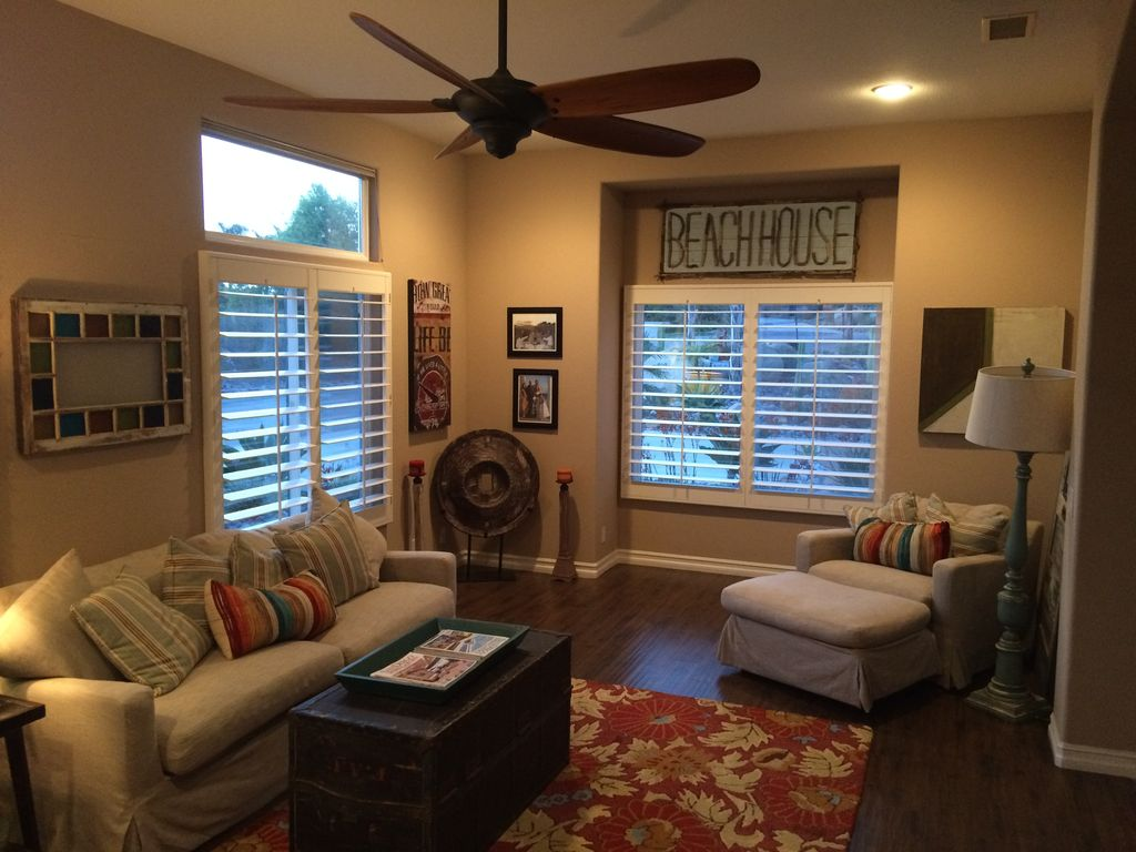 Cottage Living Room With Ceiling Fan Carpet In El Cajon
