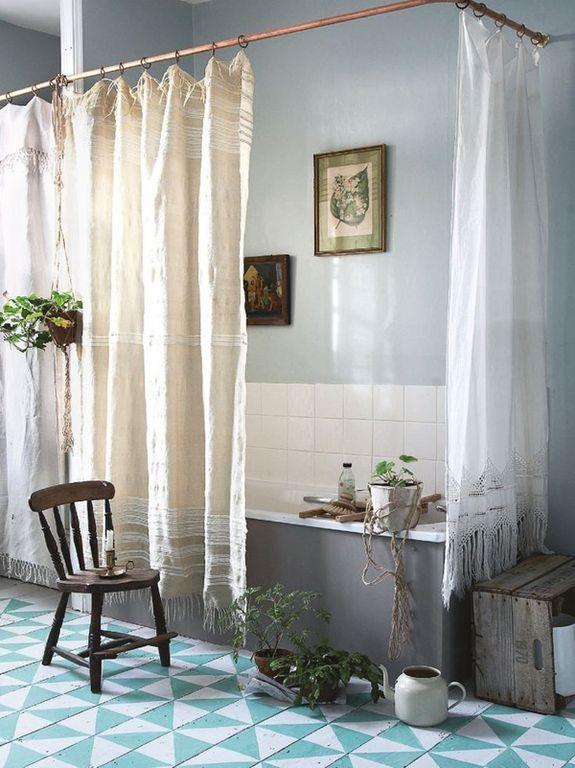 Country Full Bathroom with curtain showerdoor, drop in bathtub, Standard height, Bathtub, tiled wall showerbath, Full Bath