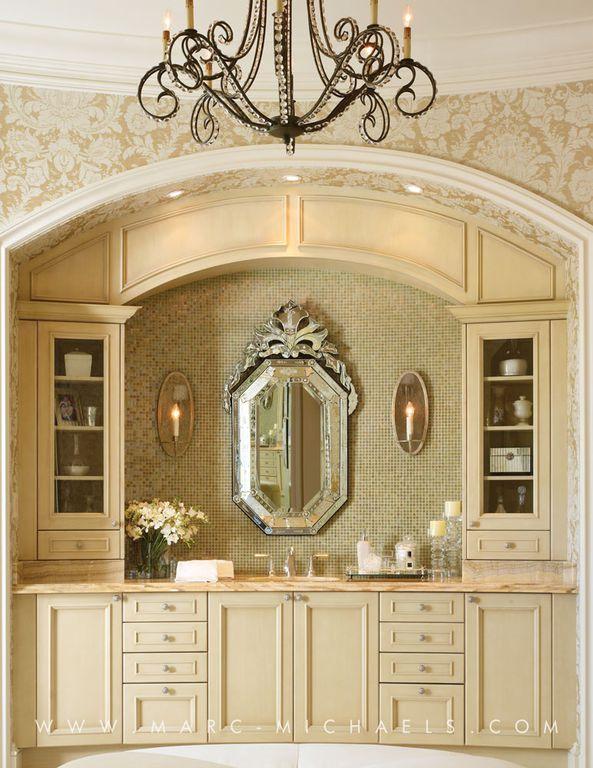 Traditional Master Bathroom with Standard height, Master bathroom, Undermount sink, Chandelier, interior wallpaper, Flush