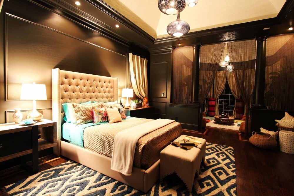 Contemporary Master Bedroom with The adler, High ceiling, Upholstered platform bed and headboard, Master bathroom