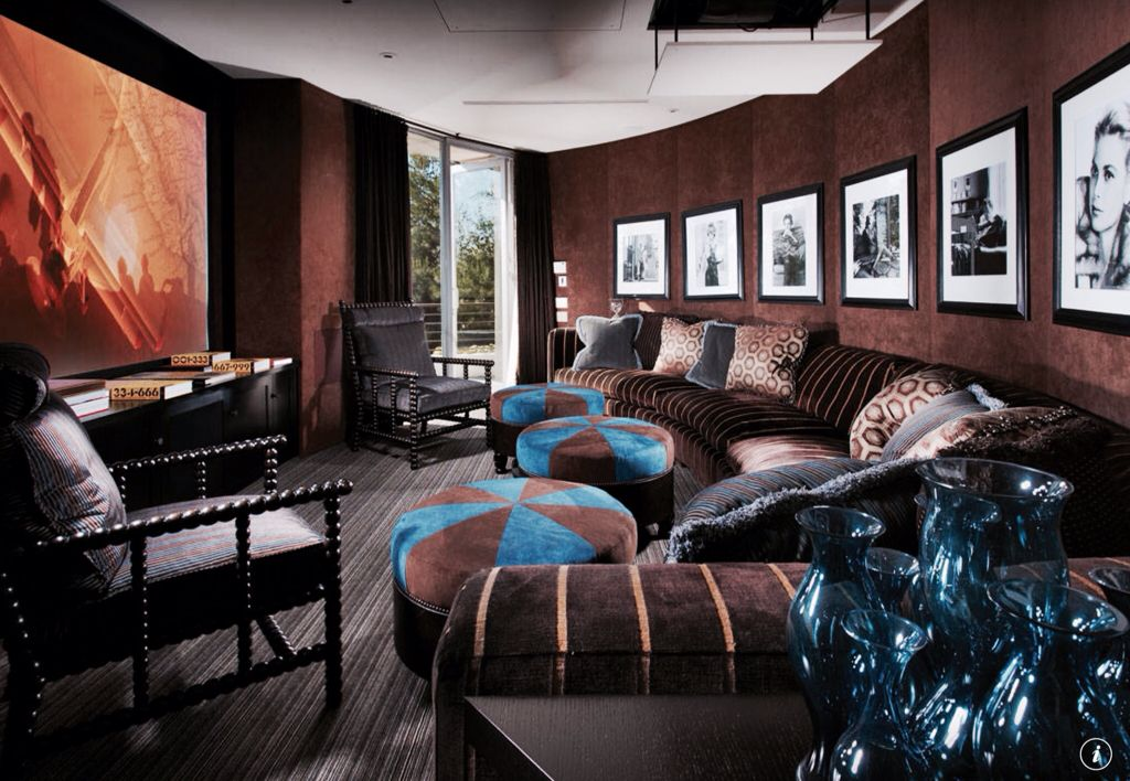 Eclectic Home Theater with Standard height, Carpet, can lights, Built-in bookshelf, French doors, interior wallpaper