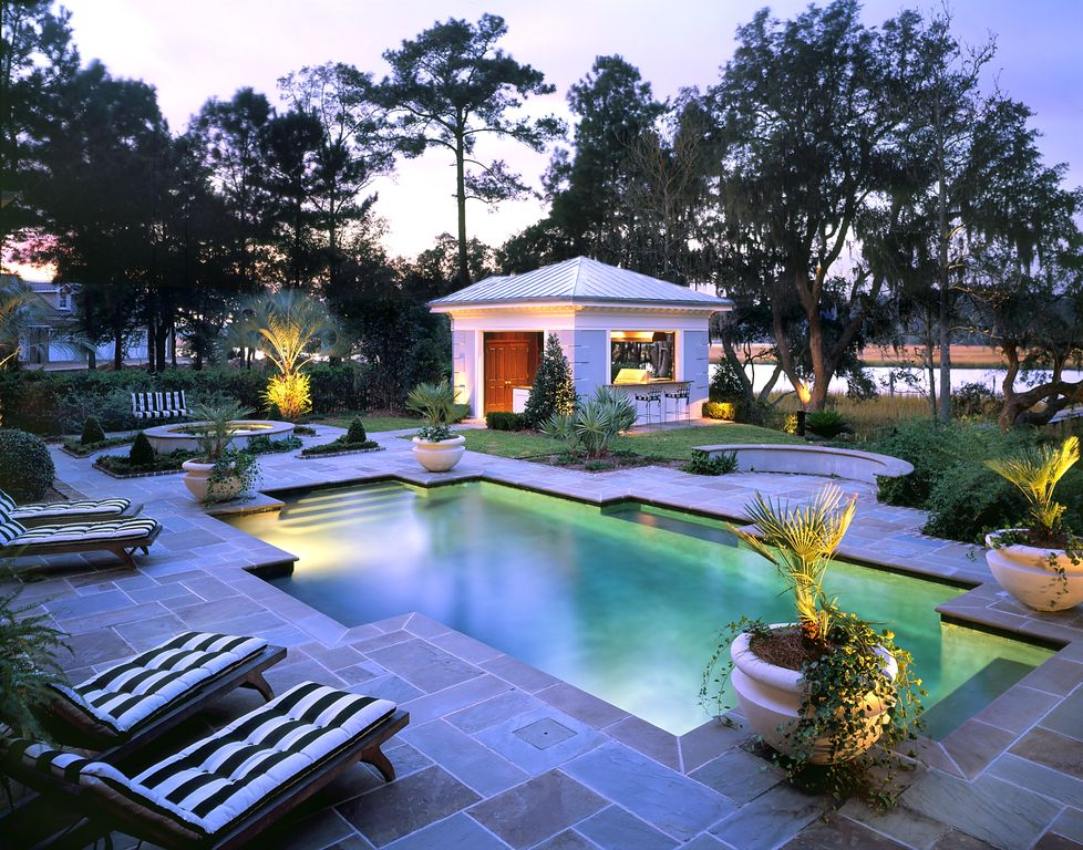 Contemporary Swimming Pool with Other Pool Type, Pathway, Fence, Outdoor kitchen, exterior stone floors, Gazebo