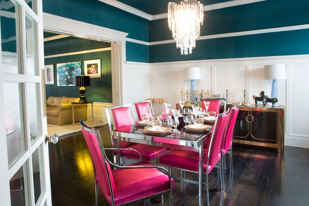 Art Deco Dining Room with French doors, Wainscotting, Hardwood floors, Chandelier, Crown molding, Standard height