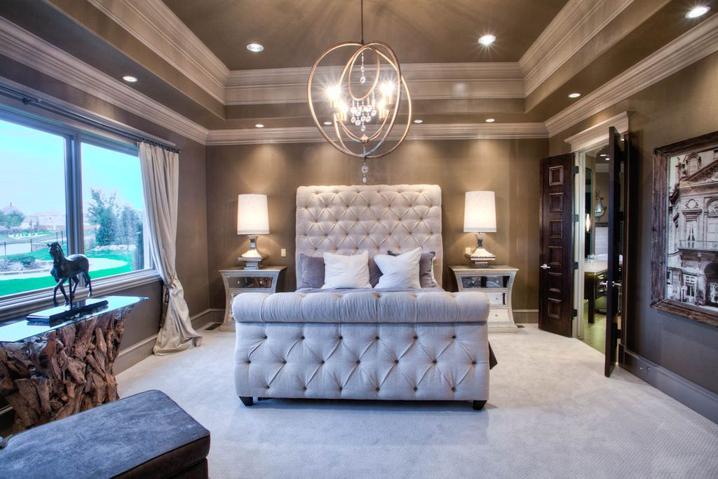 Eclectic Master Bedroom with Restoration hardware chesterfield fabric sleigh bed, Crown molding, High ceiling, can lights