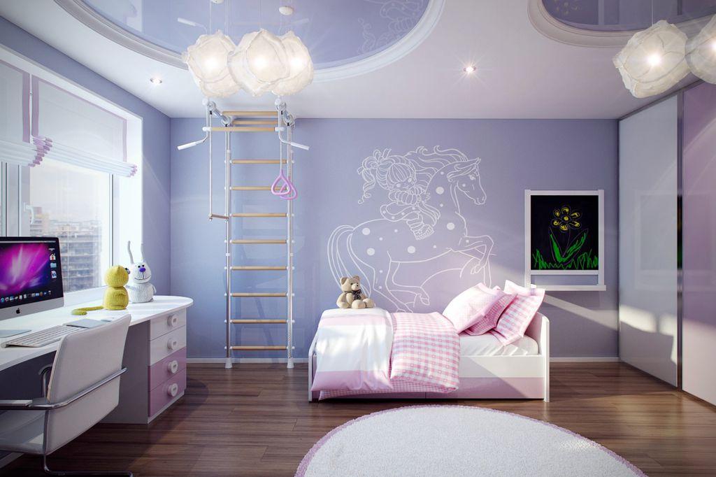 Contemporary Kids Bedroom with Ikea varmluft pendant lamp, Standard height, Casement, Paint 1, Laminate floors, Mural, Paint