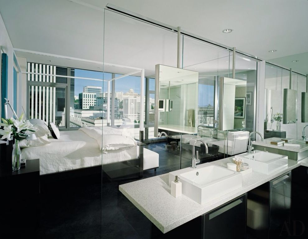 Contemporary Master Bathroom with Vessel sink, Concrete tile , Simple granite counters, can lights, Wall Tiles, Bathtub