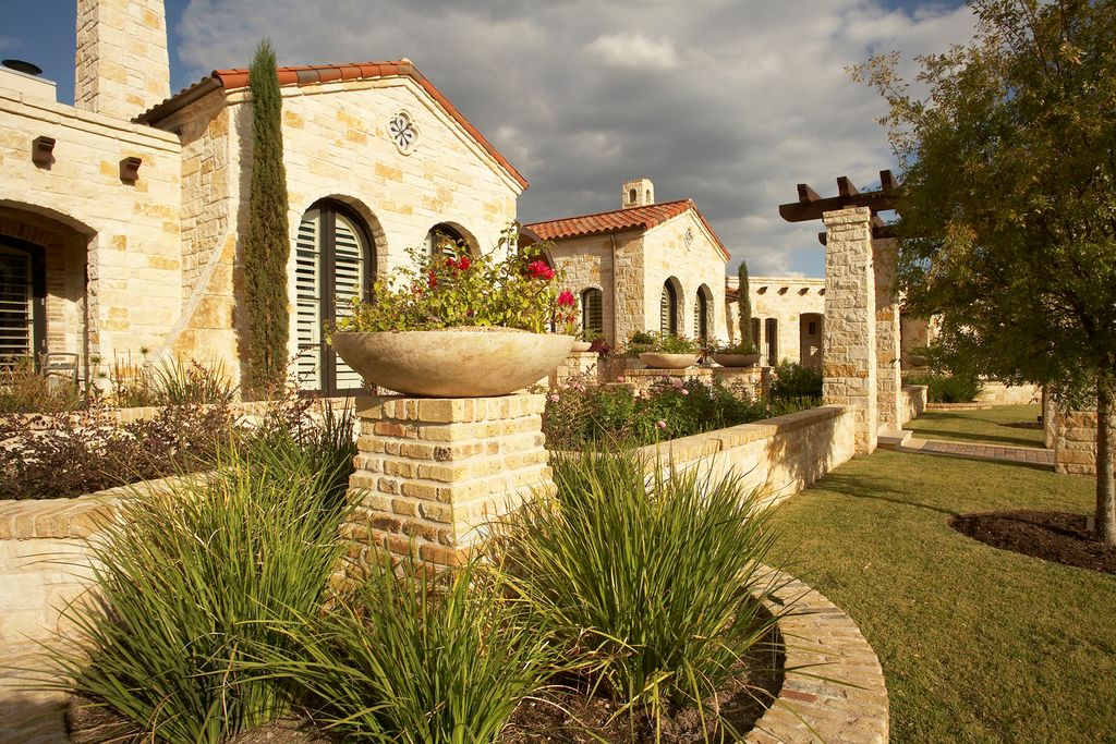 Contemporary Landscape/Yard with Trellis, Louvered door, Arbor, exterior stone floors, Pathway, Raised beds