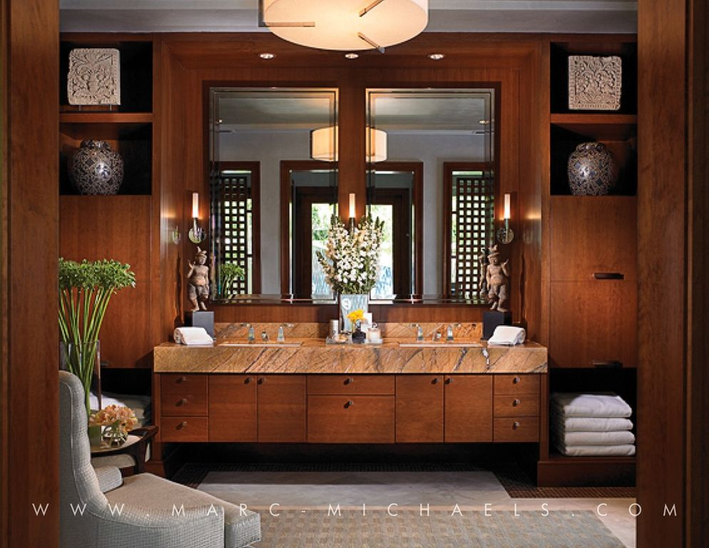 Contemporary Master Bathroom with Carpet, Wall sconce, European Cabinets, Holt wing chair, Double sink, Concrete floors