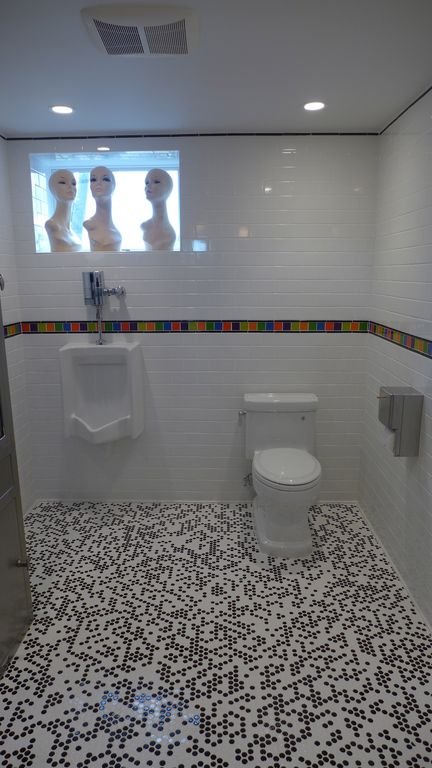 Contemporary Powder Room with ceramic tile floors, EliteTile Sierra Polished Glass Grand Subway Tile in Ice White, Paint 1