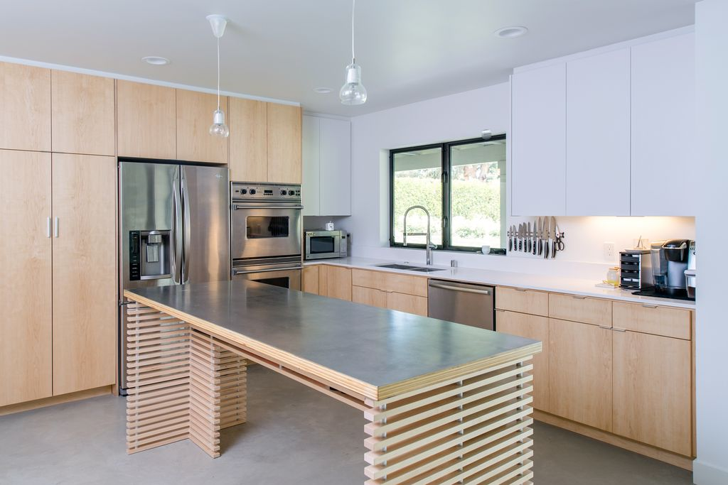 """Contemporary Kitchen with Flush, Dynamic Cooking Syst 30"""" Double Wall Oven, Casement, L-shaped, Formica counters, dishwasher"""