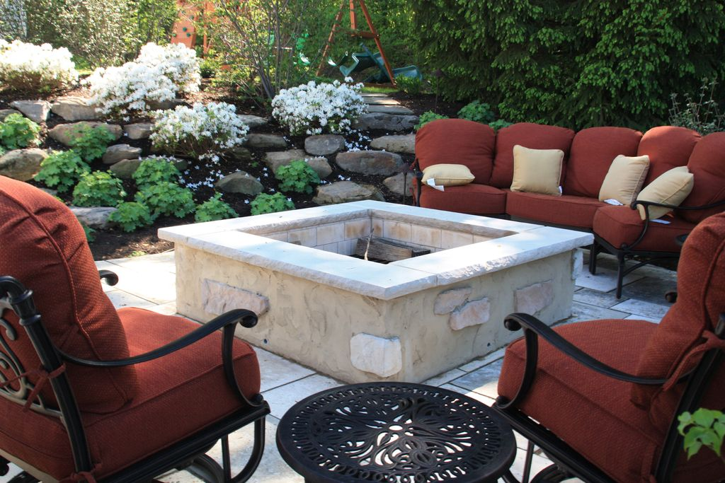Mediterranean Patio with Fire pit, Pathway, exterior stone floors