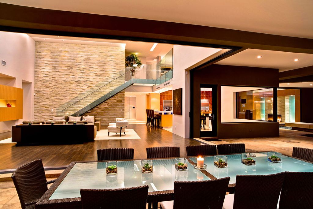 Contemporary Dining Room with Exposed beam, Standard height, Concrete tile