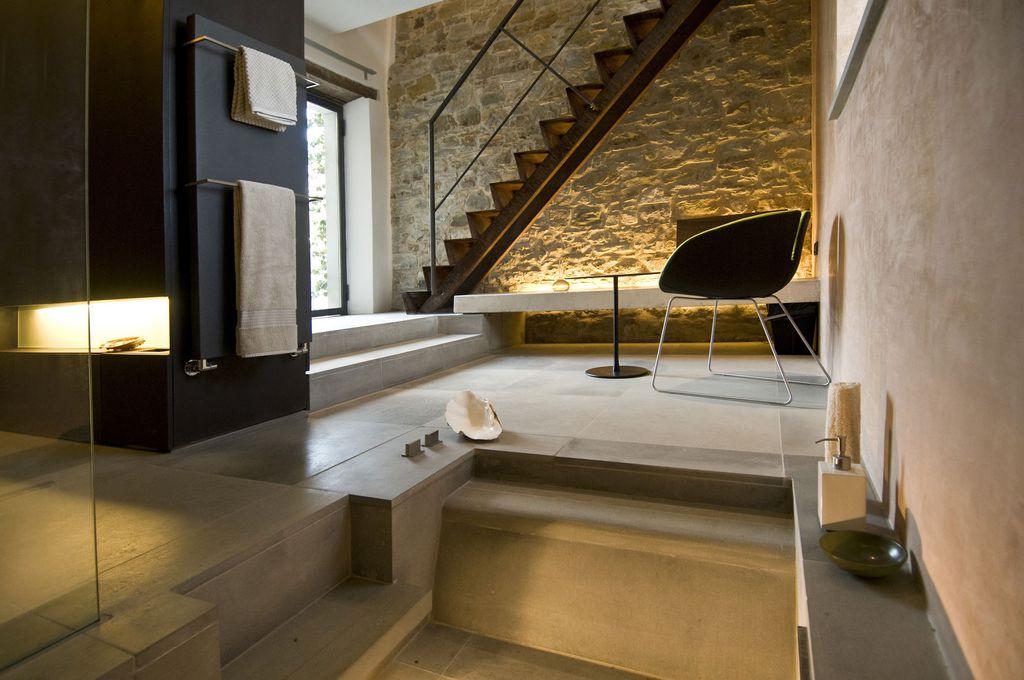 Contemporary Master Bathroom with High ceiling, stone tile floors, Master bathroom, Casement