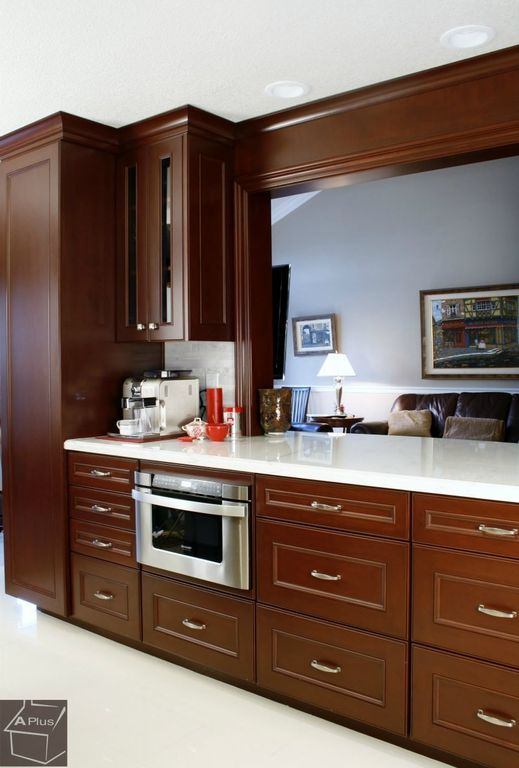 Modern Kitchen with One-wall, Standard height, Flat panel cabinets, can lights, wall oven, Inset cabinets