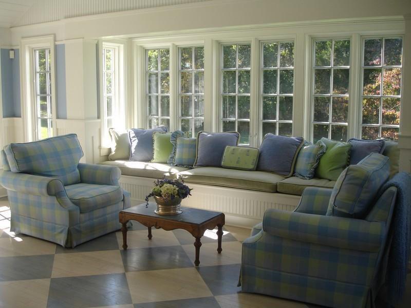 Cottage Living Room with Standard height, Casement, French doors, terracotta tile floors