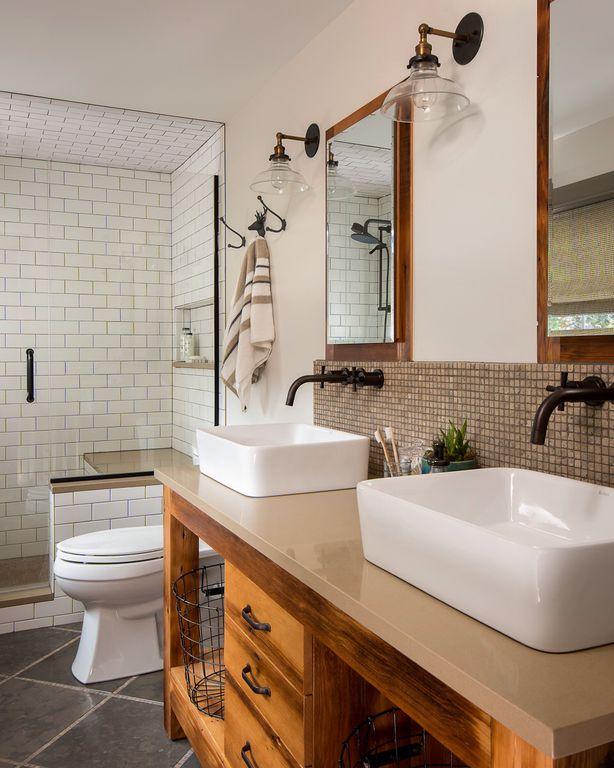 Eclectic Master Bathroom with Paint, European Cabinets, frameless showerdoor, Standard height, Vessel sink, stone tile floors
