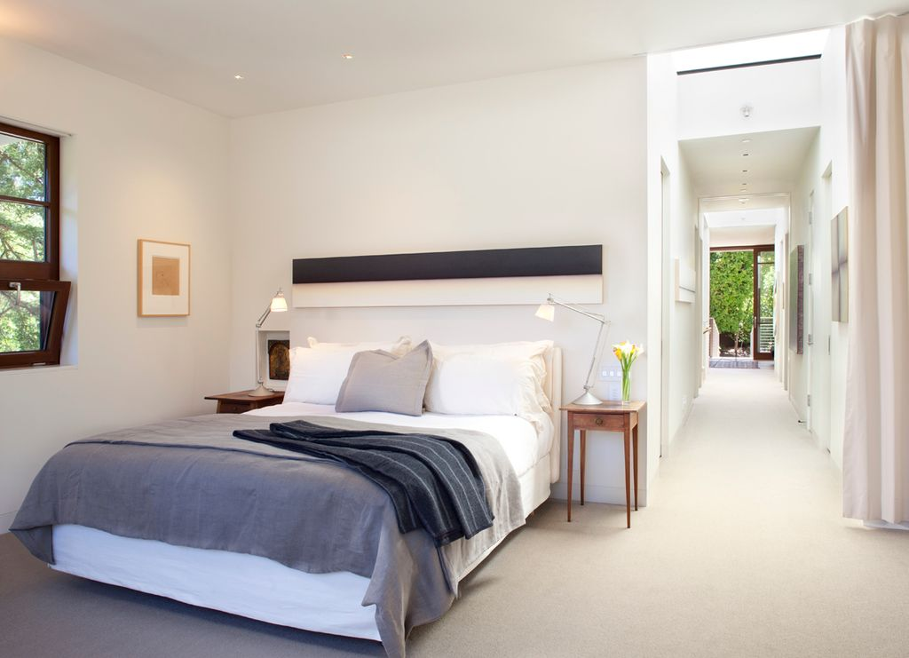 Contemporary Master Bedroom with can lights, Carpet, double-hung window, Standard height