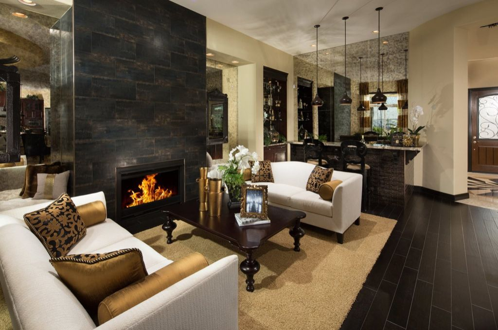 Contemporary Living Room with FlashFurniture Hercules Imperial Series Leather Love Seat, stone fireplace, Area rug