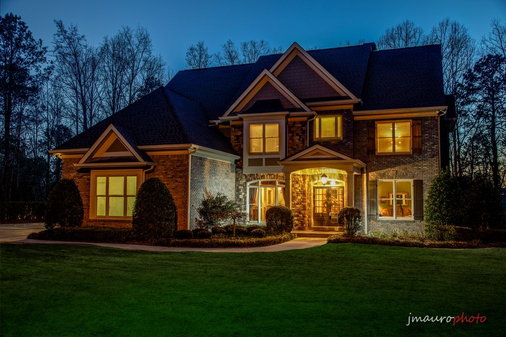 Traditional Exterior of Home with Accent landscape lighting