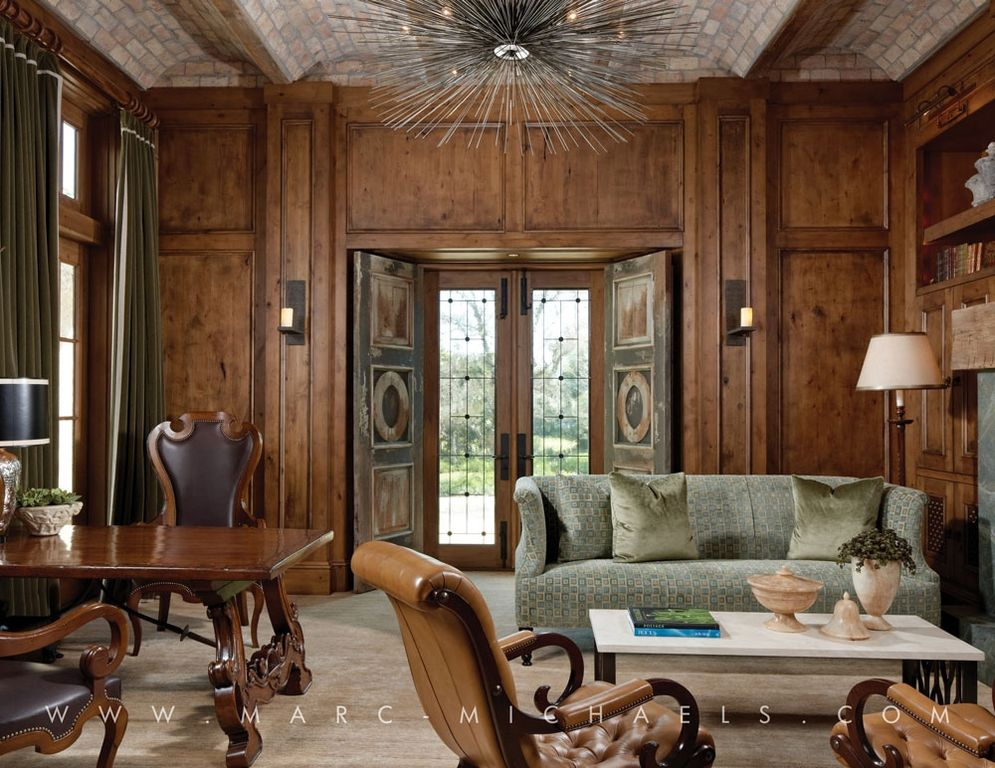 Contemporary Home Office with specialty window, High ceiling, Carpet, flush light, French doors, Built-in bookshelf
