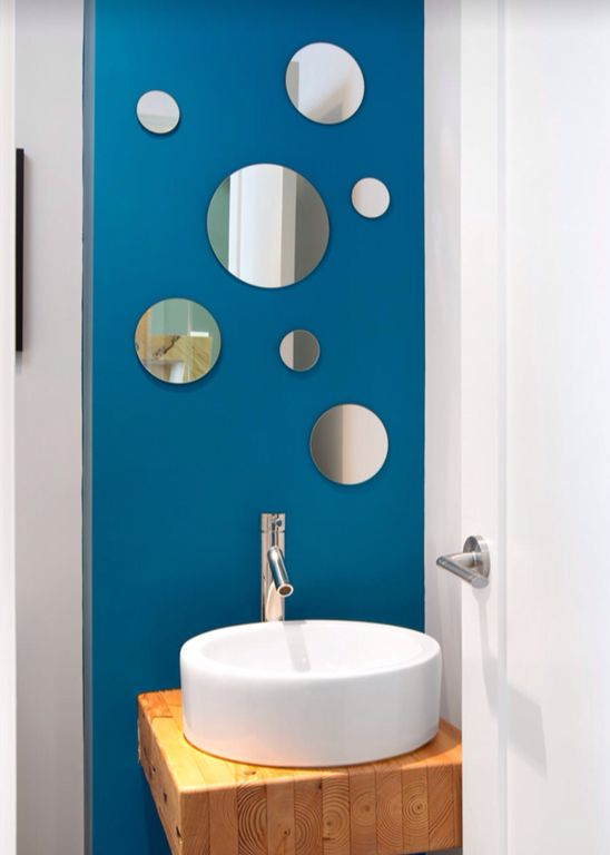 Contemporary Powder Room with Powder room, nexxt Design Zoe 7 Piece Round Mirrors Set, Wood counters, specialty door
