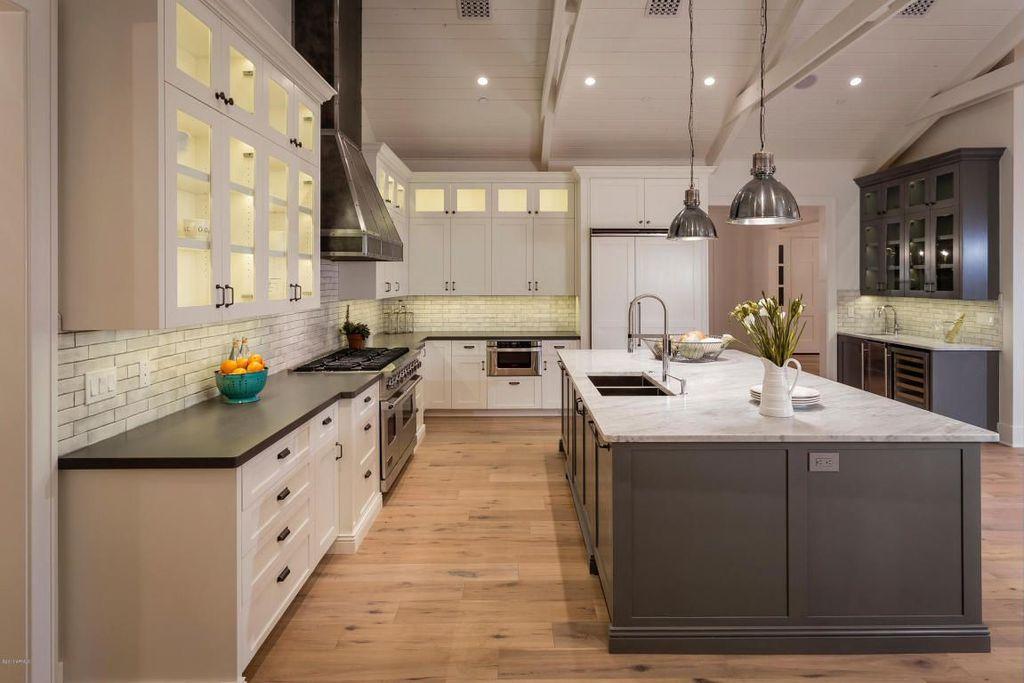 Traditional Kitchen with Subway Tile, Glass panel, Restoration hardware harmon pendant - satin nickel, Pendant light, Flush