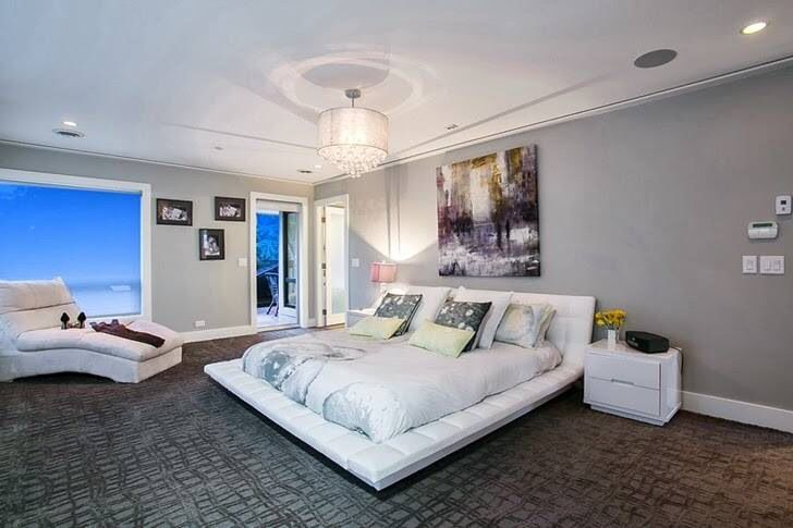 Contemporary Master Bedroom with French doors, picture window, Paint, White tufted platform bed, Crown molding, can lights