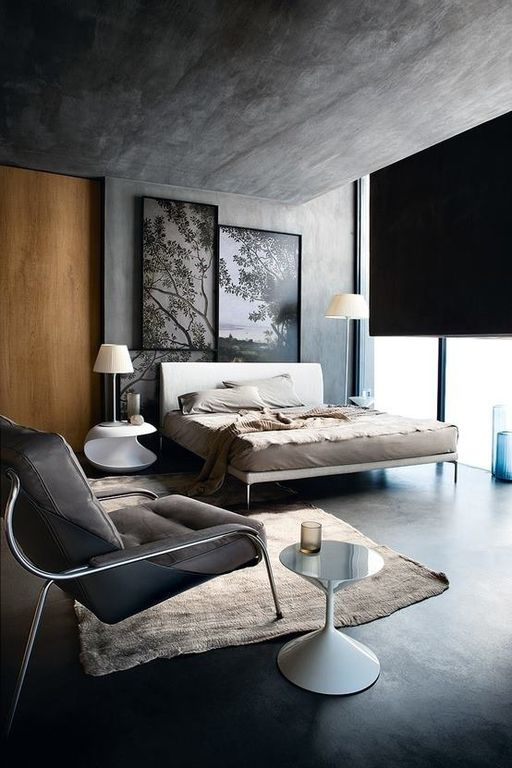Contemporary Master Bedroom with picture window, Standard height, Mod upholstered bed, Concrete wall, Oviedo leather chair