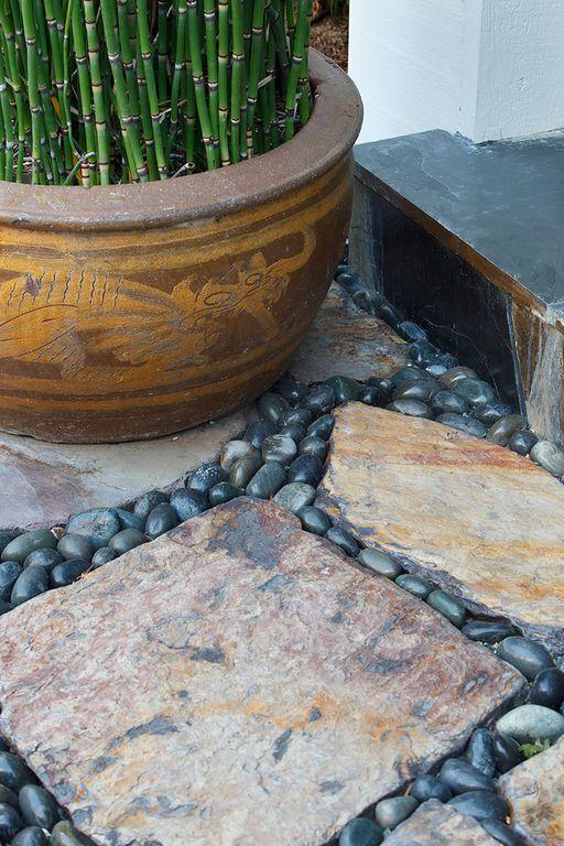 Asian Landscape/Yard with Ms international flagstone random autumn, Ms international black polished pebbles