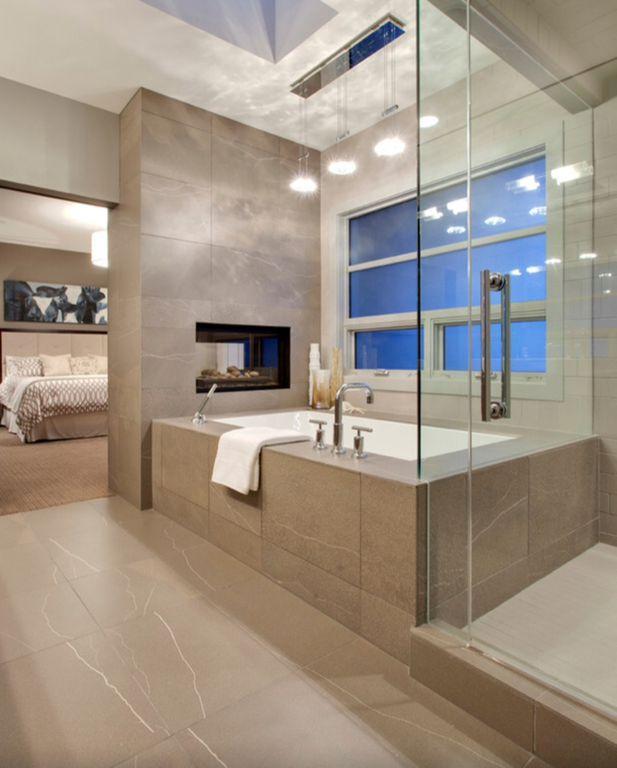 Contemporary Master Bathroom with Pendant light, frameless showerdoor, Master bathroom, Arizona travertine troy tile