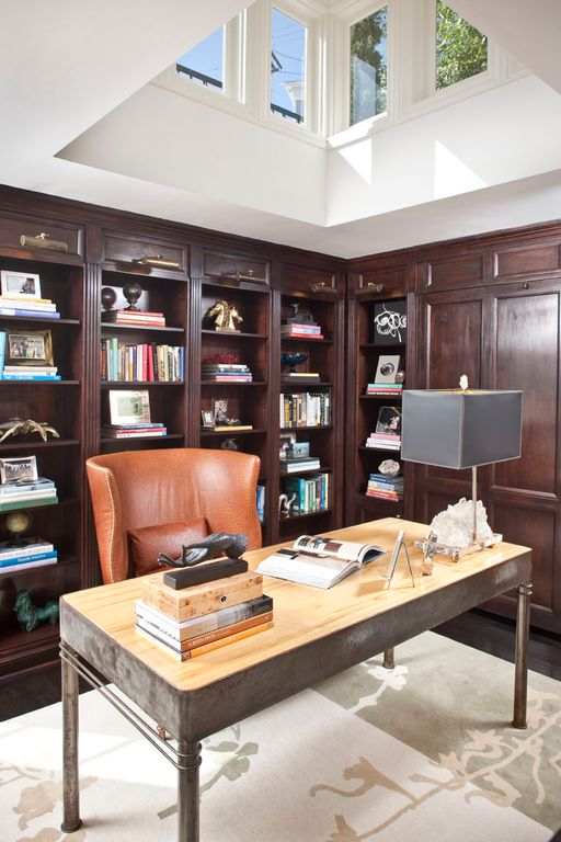 Traditional Home Office with High ceiling, Hardwood floors, Built-in bookshelf