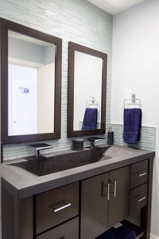 Contemporary Full Bathroom with Tst mosaics striped bar glass tile, Milano design company custom concrete sink