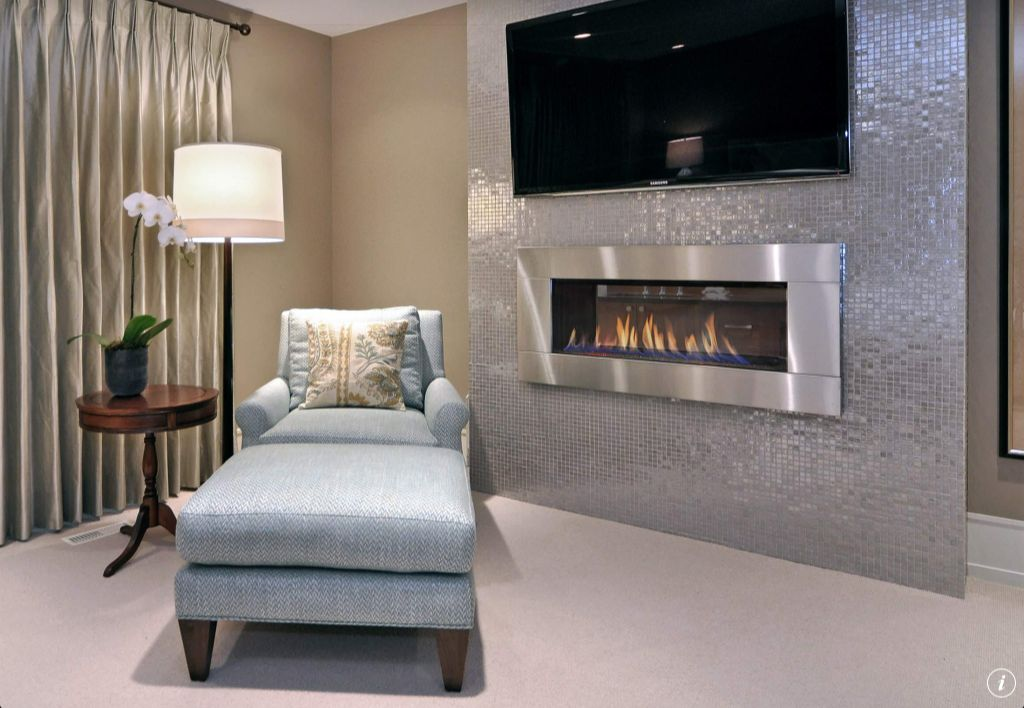 Contemporary Living Room with Megan Accent Table, Upholstered ottoman, can lights, Carpet, Accent pillow, Fireplace, Paint 1