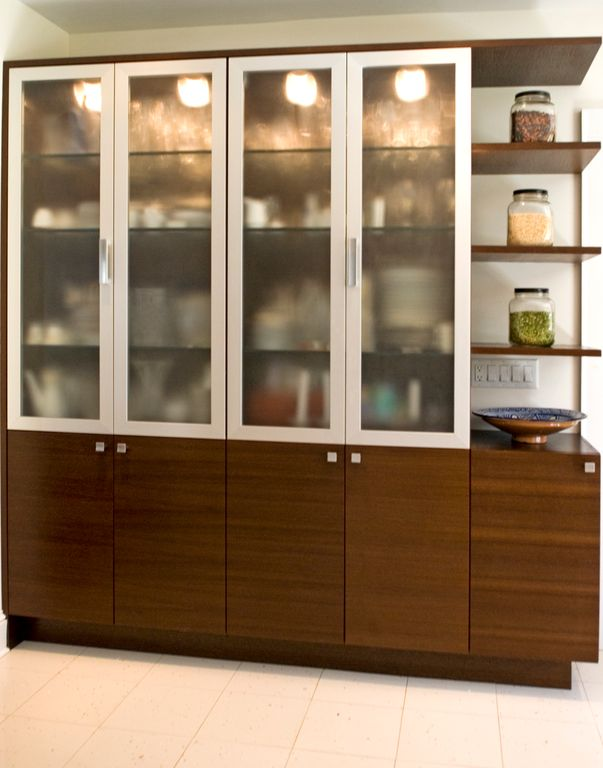 Contemporary Pantry with Ikea hemnes storage cabinet, limestone tile floors, Standard height, stone tile floors