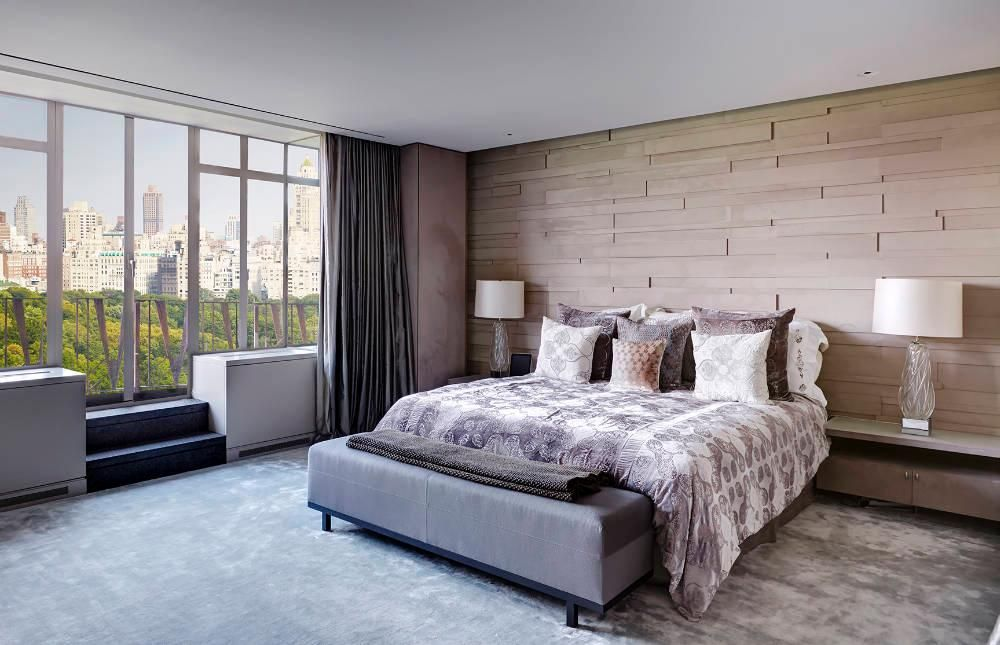 Contemporary Master Bedroom with Stikwood Wall D?cor, Reclaimed Weathered Wood, slate floors