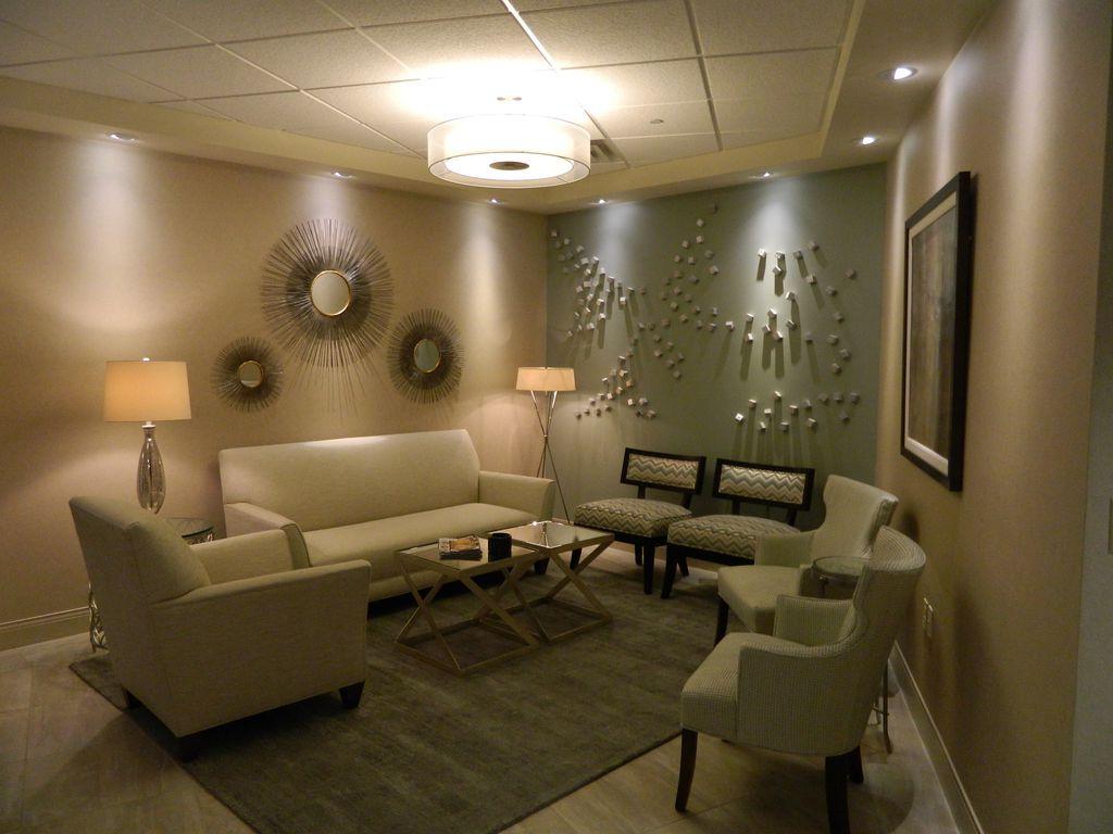 Art Deco Living Room with can lights, Box ceiling, Hardwood floors, flush light, Standard height