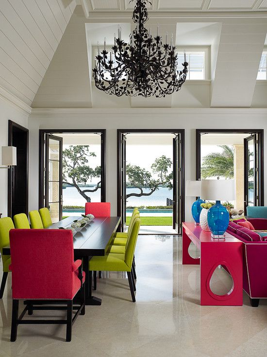 Contemporary Dining Room with Crown molding, Chandelier, Box ceiling, French doors, Wall sconce, High ceiling, Casement
