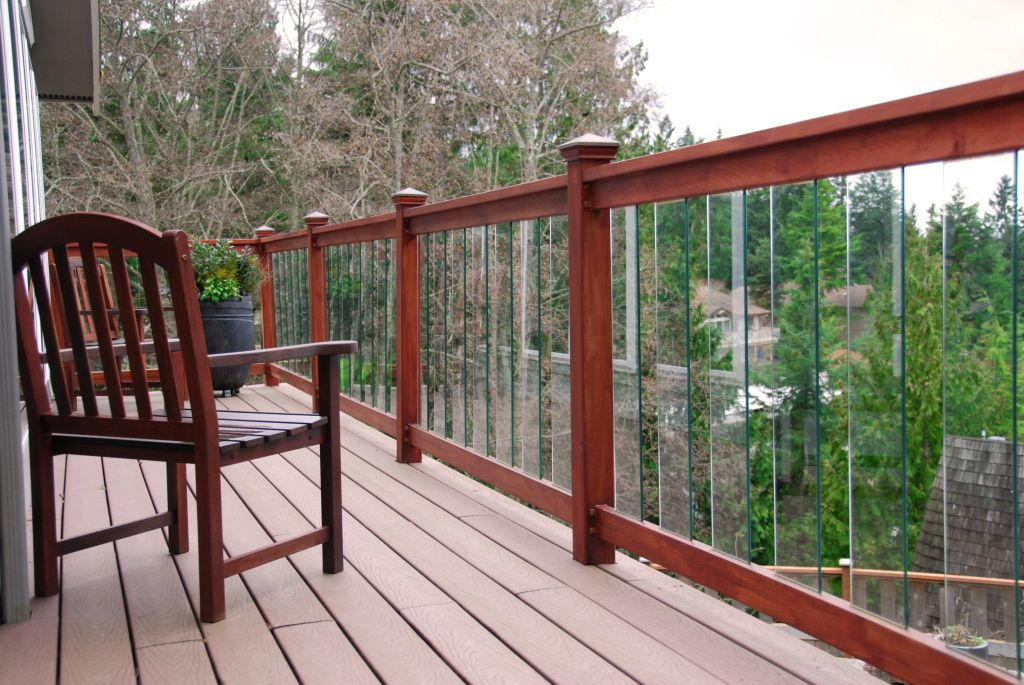 Contemporary Deck with Fence, Deck Railing