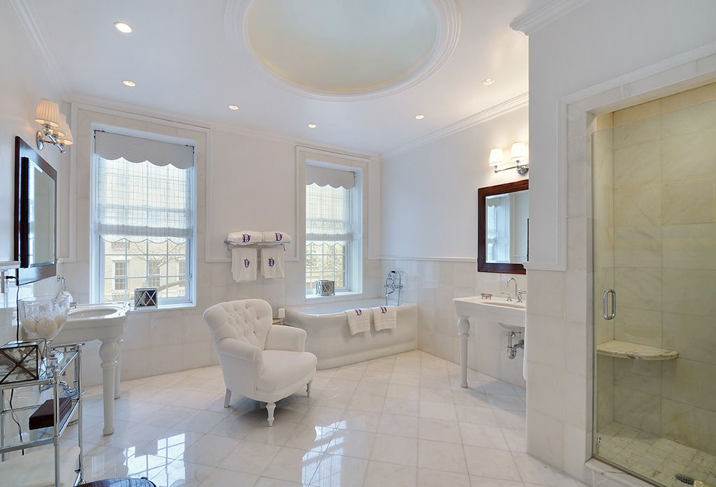 Traditional Master Bathroom with Shower, double-hung window, Master bathroom, can lights, large ceramic tile floors, Cornice