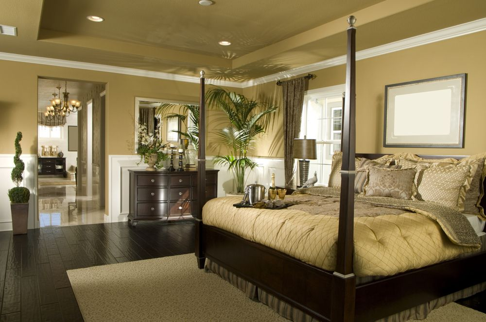Traditional Master Bedroom with Standard height, double-hung window, Wainscotting, Crown molding, Hardwood floors, Paint